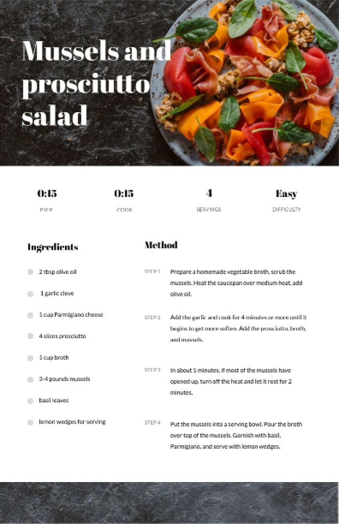 Mussels and Prosciutto Salad on Plate Recipe Cardデザインテンプレート