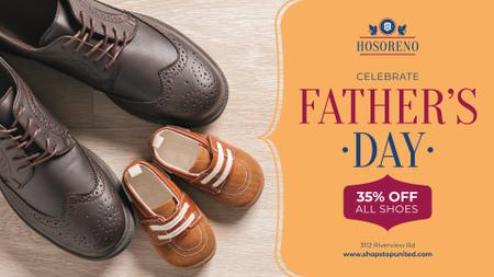 Ontwerpsjabloon van FB event cover van Father's Day Sale Male Shoes with Baby Booties