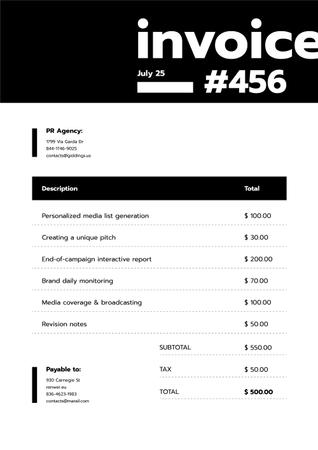 Plantilla de diseño de PR Agency Services on Black an White Invoice