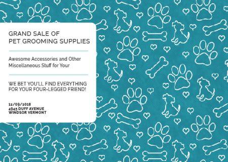 Plantilla de diseño de Grand sale of pet grooming supplies Postcard