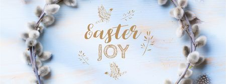Modèle de visuel Easter Greeting with willow wreath - Facebook Video cover
