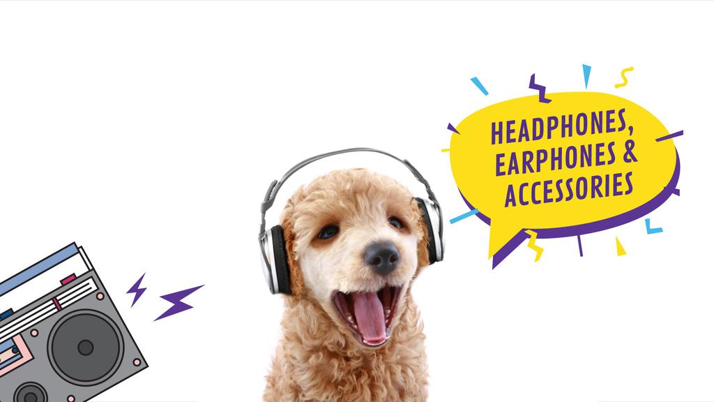 Headphones Ad Funny Dog with Bouncing Head — Maak een ontwerp