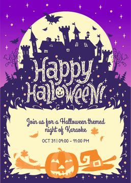 Happy Halloween Karaoke Night Invitation Scary House | Flyer Template