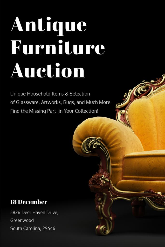 Antique Furniture Auction with Luxury Yellow Armchair — Modelo de projeto