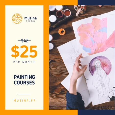 Painting Courses Offer Creative Female Portrait Instagram AD Modelo de Design