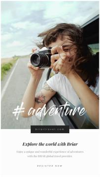 Travel Photo Girl with Camera in Fast Driving Car