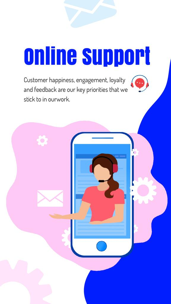 Online Customers Support Consultant on Phone Screen | Vertical Video Template — Create a Design