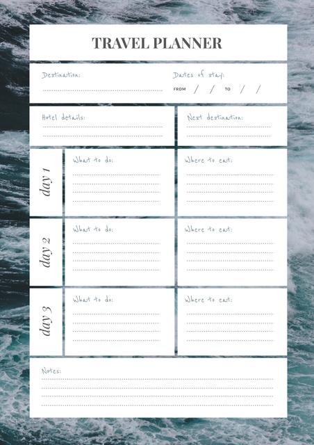 Travel Planner on Raging Sea Schedule Plannerデザインテンプレート