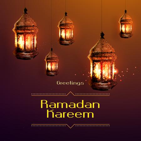 Modèle de visuel Ramadan Kareem Greeting Golden Lanterns - Instagram