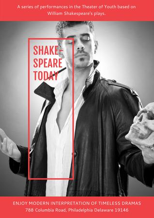 Ontwerpsjabloon van Poster van Shakespeare's performances in Theater