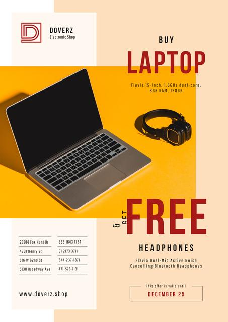 Gadgets Offer with Laptop and Headphones Poster Modelo de Design