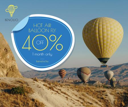 Ontwerpsjabloon van Facebook van Hot Air Balloon Flight Offer