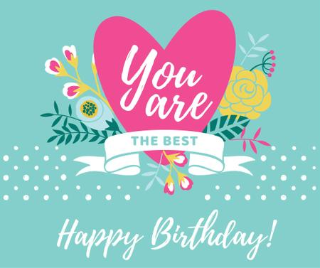 Template di design Happy Birthday greeting Heart and Flowers Facebook