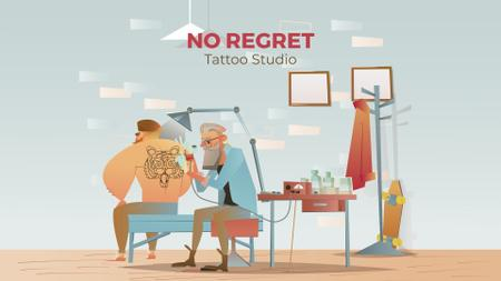 Plantilla de diseño de Tattoo Studio Ad Man Getting Tiger Tattoo Full HD video