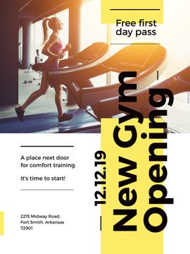 Gym Ticket Offer with Woman on Treadmill | Poster Template