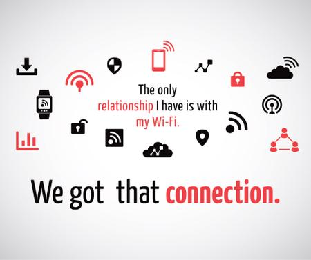 Wi-Fi technology sign and icons Facebook Modelo de Design