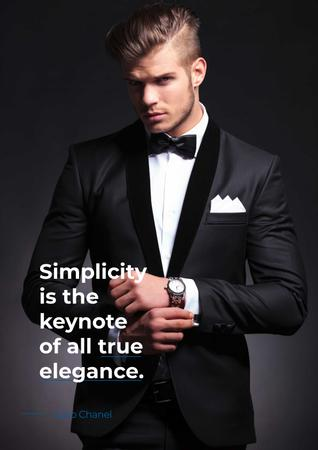 Plantilla de diseño de Elegance Quote with Man in Formal Wear Poster