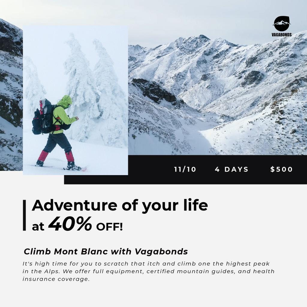Tour Offer Climber Walking on Snowy Peak | Square Video Template — Создать дизайн