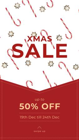 Christmas Sale with Candy Cane and Cookies Instagram Video Story Modelo de Design
