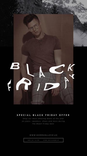 Modèle de visuel Black Friday Sale with Stylish Young Man - Instagram Video Story