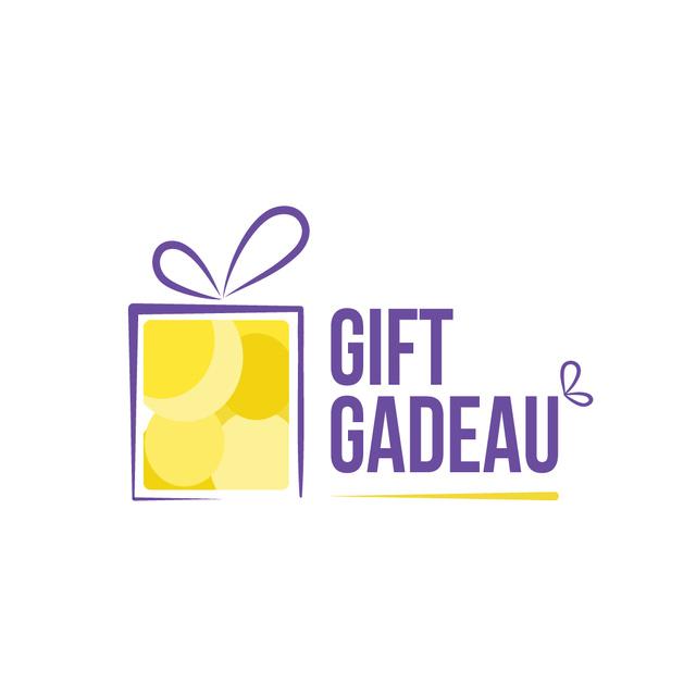 Plantilla de diseño de Gift Box with Bow in Yellow Logo