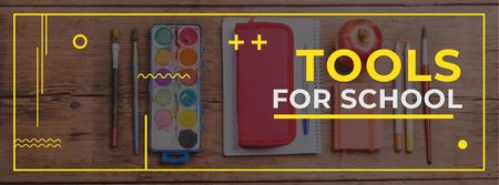 Tools for school Offer Facebook cover Modelo de Design