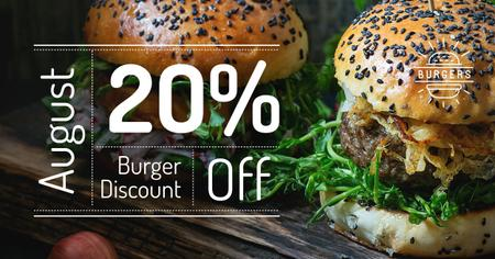 Burger discount Offer with two Tasty Burgers Facebook AD Modelo de Design