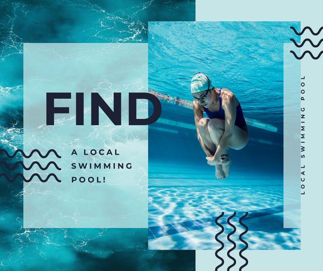 Swimmer diving in pool water Facebook – шаблон для дизайну