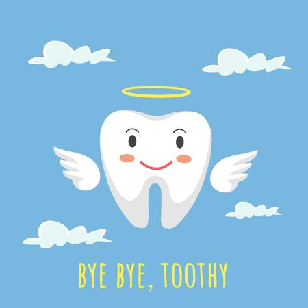 Cartoon angel tooth character Animated Post Tasarım Şablonu