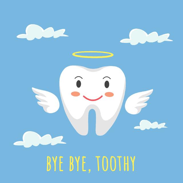 Ontwerpsjabloon van Animated Post van Cartoon angel tooth character