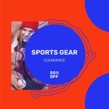 Sport gear Sale with Woman playing Baseball Instagram Modelo de Design