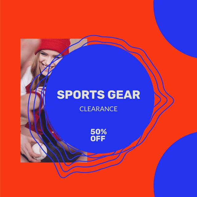 Sport gear Sale with Woman playing Baseball Instagramデザインテンプレート
