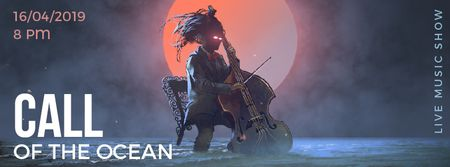 Ontwerpsjabloon van Facebook Video cover van Musician with glowing eyes playing cello