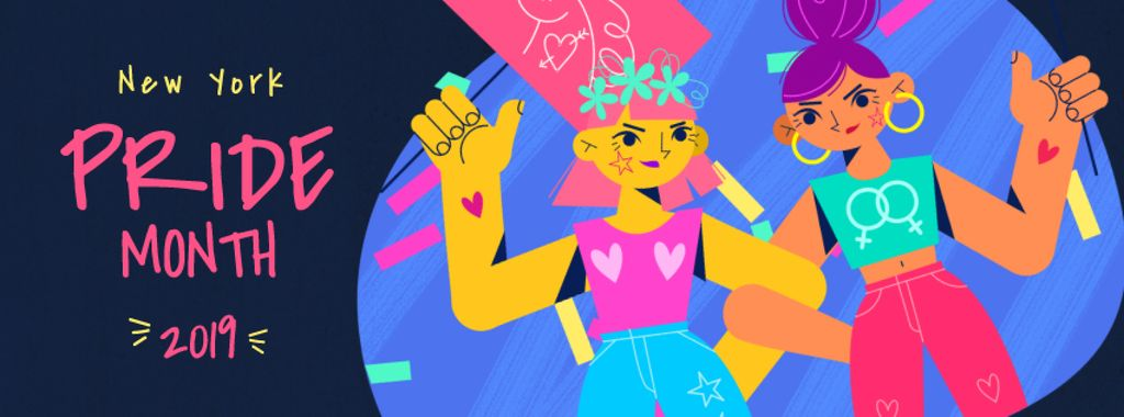 Girls at Pride Month lgbt demonstration — Створити дизайн