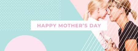 Happy Mother with daughter on Mother's Day Facebook cover – шаблон для дизайна