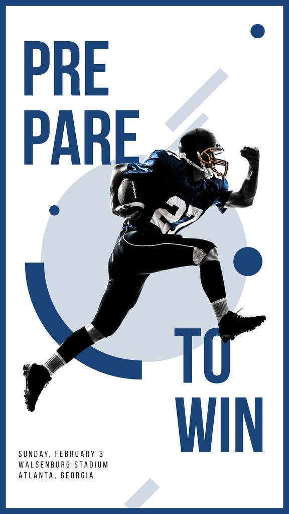 American football player running with ball — Maak een ontwerp