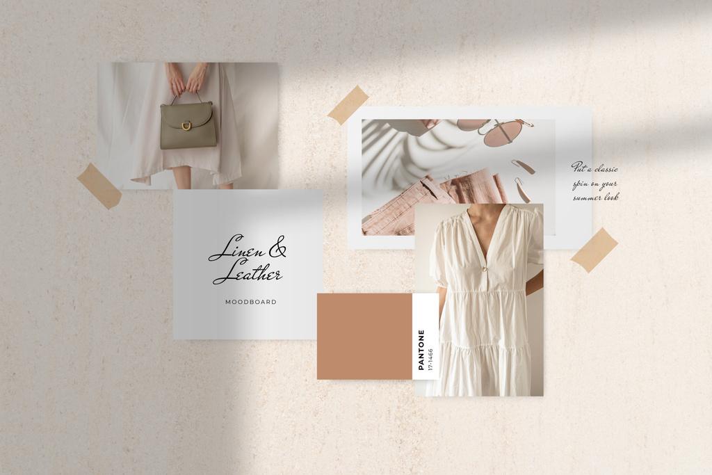Stylish Girl in linen clothes Mood Board – шаблон для дизайну