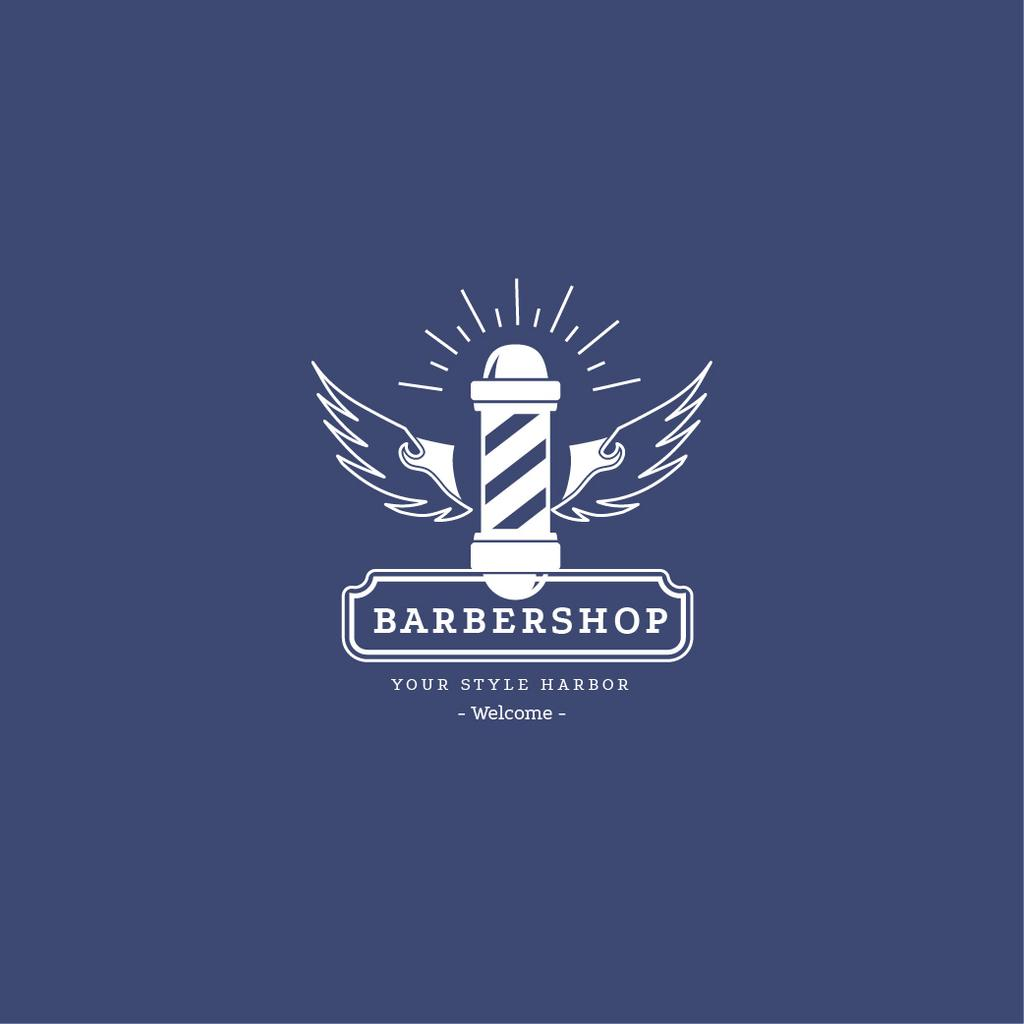 Barbershop Ad with Striped Lamp in Blue — ein Design erstellen