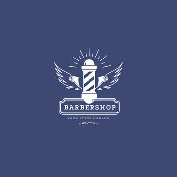 Barbershop Ad Striped Lamp in Blue | Logo Template