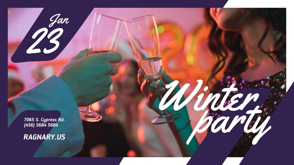 Winter Party invitation People toasting with Champagne FB event cover Tasarım Şablonu