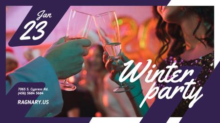 Plantilla de diseño de Winter Party invitation People toasting with Champagne FB event cover