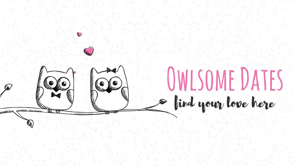 Owls in love sitting on branch — Create a Design