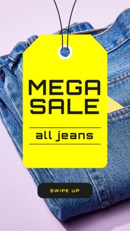 Fashion Sale Ad with Blue Jeans Instagram Story – шаблон для дизайну