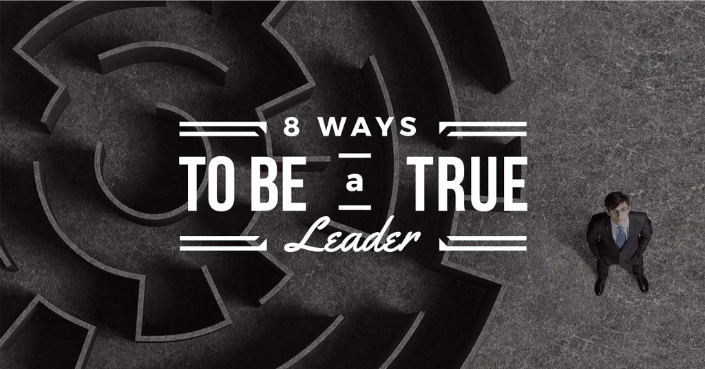 8 ways to be a true leader banner with maze and businessman — Создать дизайн