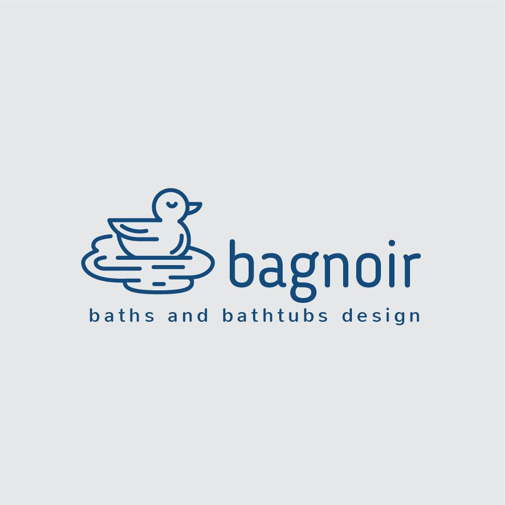 Bath with Swimming Duck in Blue | Logo Template — Créer un visuel