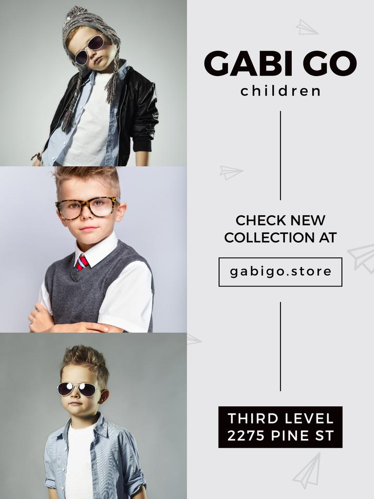 Children clothing store with stylish kids — Crear un diseño