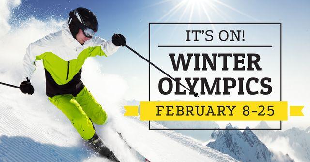 Winter Olympics with Skier Facebook AD Modelo de Design