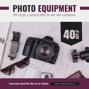 Dslr Camera and Photo Equipment Offer | Square Video Template