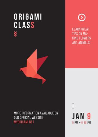 Plantilla de diseño de Origami Classes Invitation Paper Bird in Red Invitation