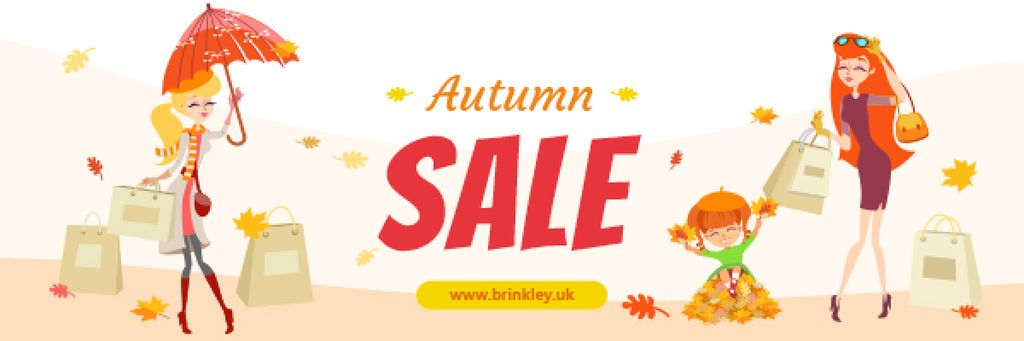Autumn Sale Ad Women with Shopping Bags — Créer un visuel